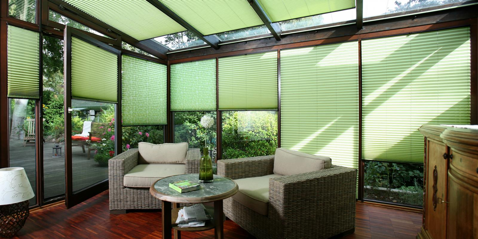 Interior fabric shading | PLEATED BLINDS | Pleated shading for conservatories